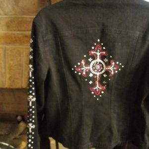 Christine Alexander Gemstone Black Denim Jacket XL